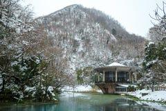 As en vijver in de sneeuw, rustige en vreedzame moodarbor en de vijver in de sneeuw, rustige en vreedzame stemming royalty-vrije stock fotografie