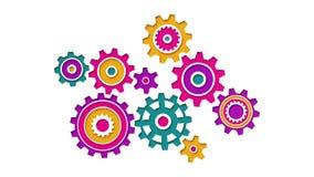 As engrenagens coloridas bonitas de várias formas gerenciem no acoplamento ilustração do vetor
