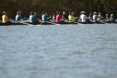 As equipes do grupo da faculdade das mulheres competem ao longo do rio de Atlanta foto de stock royalty free