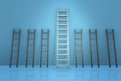 As escadas diferentes no conceito da progressão da carreira Imagem de Stock