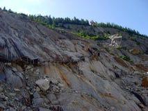 As escadas que vão à entrada do Mer de Glace cavam, Chamonix, França Foto de Stock Royalty Free