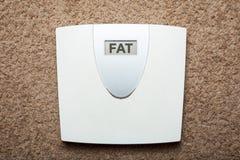 As escalas eletrônicas do assoalho em vez do peso mostram a gordura da palavra imagens de stock
