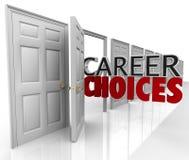 As escolhas da carreira exprimem muitos trabalhos das oportunidades das portas Foto de Stock Royalty Free