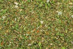 As especiarias misturadas fecham-se acima do fundo Alho, erva-doce, cenouras, manjericão, aipo, salsa, manjerona, cebola Foto de Stock