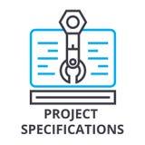 As especificações de projeto diluem a linha ícone, sinal, símbolo, illustation, conceito linear, vetor ilustração do vetor