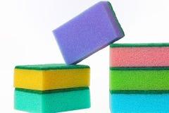 As esponjas de limpeza da limpeza Imagem de Stock