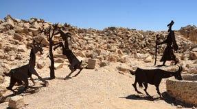 As estátuas de aço ilustram uma cena típica em Avdat Imagem de Stock