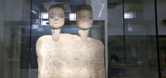 As estátuas de Ain Ghazal são as estátuas as mais velhas feitas nunca ser humano, feito entre 6000 e 8000 B C , Jordan Archaeolog Fotografia de Stock Royalty Free