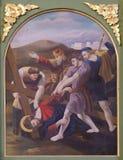 as 9as estações da cruz, Jesus caem a terceira vez Fotos de Stock Royalty Free