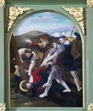 as 9as estações da cruz, Jesus caem a terceira vez Imagem de Stock Royalty Free