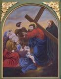 as 8as estações da cruz, Jesus encontram as filhas do Jerusalém Fotografia de Stock