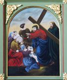as 8as estações da cruz, Jesus encontram as filhas do Jerusalém Imagens de Stock