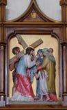 as 8as estações da cruz, Jesus encontram as filhas do Jerusalém Foto de Stock