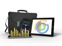 As estatísticas de negócio diagram a rendição da pasta 3d da tabuleta no whi Foto de Stock Royalty Free