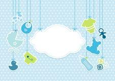 As estrelas de suspensão da nuvem dos ícones do bebê do cartão modelam azul ilustração do vetor