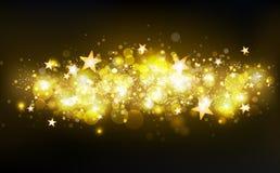 As estrelas de tiro mágicas douradas, decoração, estrelas fazem sinal a confetes, poeira, as partículas de incandescência obscura ilustração do vetor