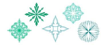 As estrelas dos flocos de neve florescem e vetores dados forma diamante com detalhes ornamentado ilustração stock
