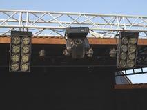 As estruturas da iluminação de estágio iluminam o equipamento Fotos de Stock