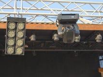 As estruturas da iluminação de estágio iluminam o equipamento Fotografia de Stock
