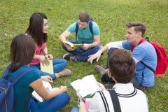 As estudantes universitário que estudam e discutem junto no terreno Fotografia de Stock