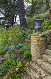As etapas de pedra antigas que conduzem na primavera jardinam fotografia de stock royalty free