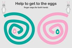 As etapas do dedo para ambos mão, ajudam o coelho a obter aos ovos, desenvolvimento simultâneo dos hemisférios direitos e esquerd ilustração royalty free