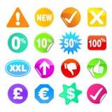 As etiquetas brilhantes ajustaram 3 - símbolos Fotografia de Stock