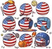 As etiquetas da equipe de esporte embalam a etiqueta EUA do grupo da bola do país ilustração do vetor