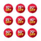 As etiquetas da venda ajustaram o molde dos crachás do vetor, 10 fora, 15, 20, 25, 30, 40, 50, 60, símbolos da etiqueta de uma ve Imagens de Stock Royalty Free
