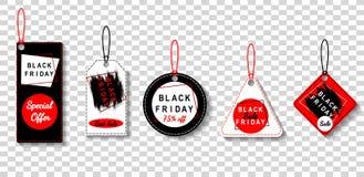 As etiquetas da venda de Black Friday ajustaram-se, anunciando, ilustração do vetor Fundo transparente Imagem de Stock Royalty Free