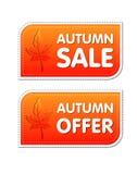As etiquetas da venda e da oferta do outono com queda folheiam ilustração do vetor