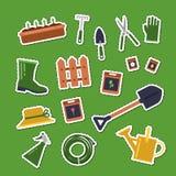 As etiquetas de jardinagem lisas dos ícones do vetor ajustaram a ilustração ilustração royalty free