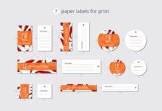 As etiquetas de papel da roupa do vetor para a cópia com teste padrão salpicam o pimentão no estilo do origâmi Fotos de Stock Royalty Free