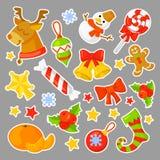 As etiquetas do Natal ajustaram o vetor da coleção cartoon Símbolos tradicionais do ano novo objetos dos ícones Isolado ilustração stock