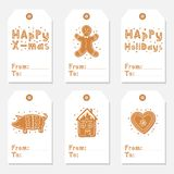 As etiquetas do presente do vintage do Natal ajustaram-se com cookies do pão-de-espécie ilustração royalty free