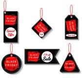 As etiquetas do preto da venda de Black Friday ajustaram-se, anunciando, ilustração do vetor Oferta especial, molde do disconto Fotografia de Stock Royalty Free
