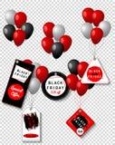 As etiquetas do preto da venda de Black Friday com balões coloridos ajustaram-se, anunciando, ilustração do vetor Oferta especial Foto de Stock Royalty Free