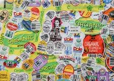 As etiquetas orgânicas do produto arranjaram como uma parte da arte fotos de stock royalty free