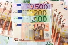 As euro- notas de banco grandes Foto de Stock