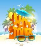 As excursões quentes vector o cartaz, o texto 3d contra a praia tropical e as palmas ilustração do vetor