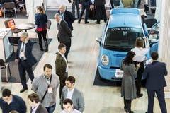 as exibições na exposição dedicada às tecnologias relacionam-se Imagens de Stock Royalty Free