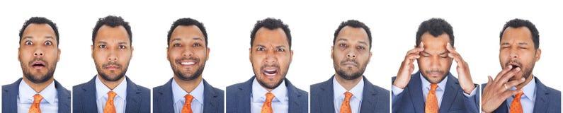 As expressões do homem de negócios fotos de stock royalty free