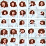 As expressões engraçadas da cara do homem novo compostas no fundo cinzento imagem de stock