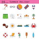 As férias de verão coloriram a linha fina grupo do vetor do ícone Fotos de Stock