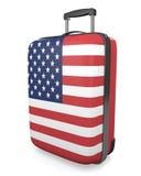 As férias do Estados Unidos e o conceito dos destinos do curso de uma bandeira pintaram a mala de viagem Fotos de Stock