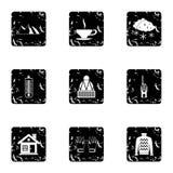 As férias em ícones das montanhas ajustaram-se, estilo do grunge ilustração do vetor
