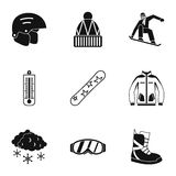 As férias em ícones das montanhas ajustaram-se, estilo simples ilustração stock