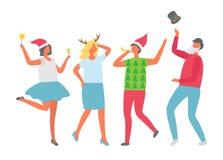 As fêmeas em Santa Hat, personagens de banda desenhada isolaram-se ilustração royalty free