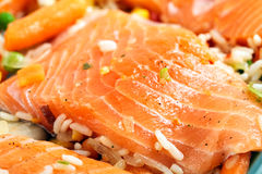 As faixas Salmon com decoram Imagem de Stock