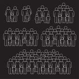 As famílias aglomeram a linha fina no fundo preto ilustração royalty free
